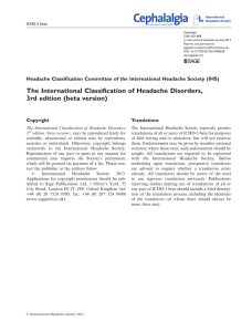 The International Classification of Headache Disorders, 3rd edition