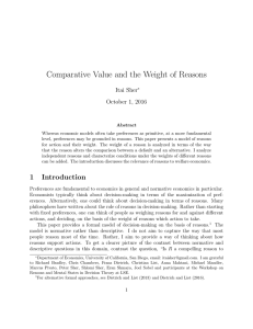 Comparative Value and the Weight of Reasons