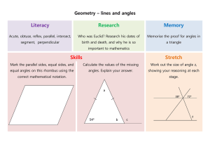 Geometry – lines and angles Literacy