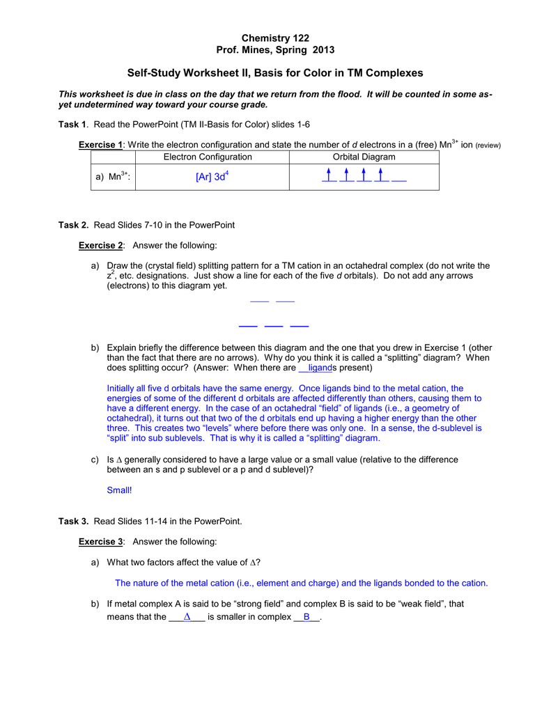 Electron Configuration Orbital Diagram Worksheet Answers