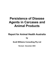 Persistence of Disease Agents in Carcases / Animal