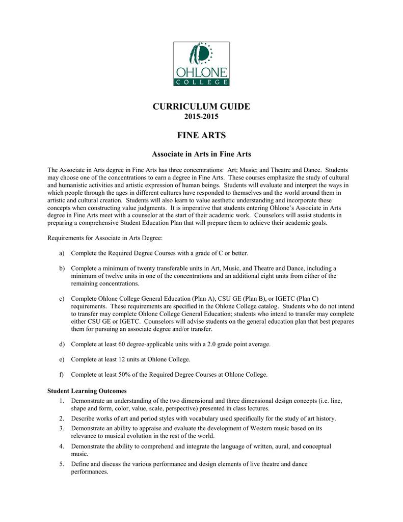 Fine Arts AA Degree - 2015-2016 Curriculum Guide