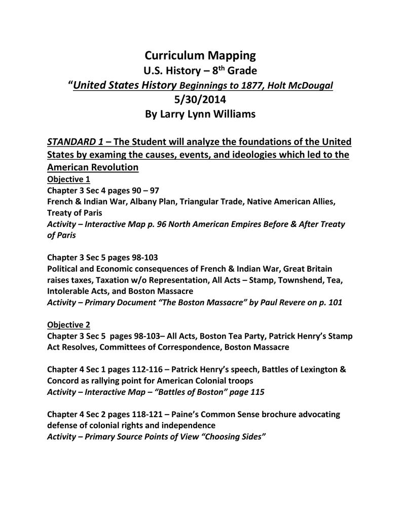 Curriculum Mapping Us History 8th Grade United States History - Us-history-curriculum-map