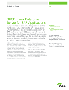 SUSE® Linux Enterprise Server for SAP Applications