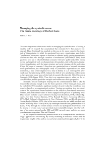 Managing the symbolic arena: The media sociology of Herbert Gans