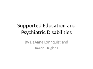Supported Education/Psychiatric Disabilities