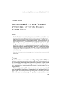 parameters of paradigms: toward a specification of the us religion