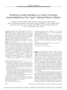 Predictors of Early Mortality in a Cohort of Human Immunodeficiency