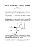 EE8331: Advanced Analog Circuit Design Techniques
