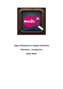Types of Reactions in Organic Chemistry Chemistry
