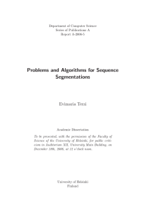 Problems and Algorithms for Sequence