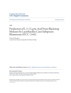 Production of L-(+) Lactic Acid From Blackstrap Molasses by