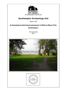 Bitterne Manor Park Archaeology Assessment