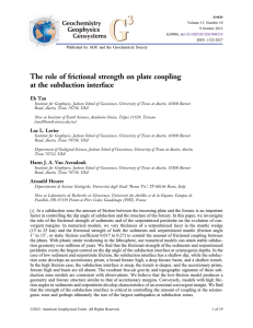 The role of frictional strength on plate coupling at the subduction