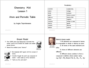 Chemistry M.4 Lesson 1 Atom and Periodic Table