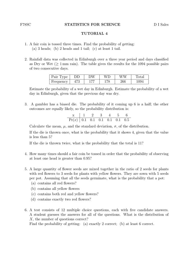 F78SC STATISTICS FOR SCIENCE D I Sales TUTORIAL 4 1  A fair