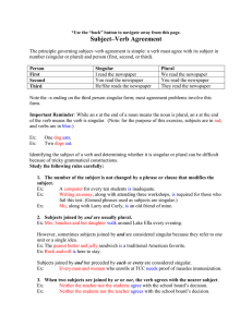 Agreement: Subject–Verb