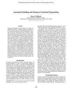 Automated Modelling and Solving in Constraint Programming