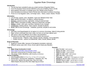 Egyptian Ruler Chronology