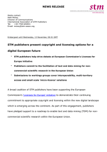 News Release - STM sector submissions to Licenses for Europe