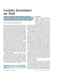 Lorentz Invariance on Trial - Physics Department, Princeton University