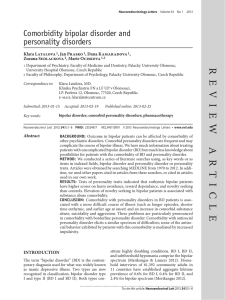 Comorbidity bipolar disorder And personality disorders