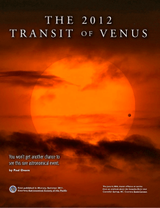 the 2012 transit of venus - Astronomical Society of the Pacific
