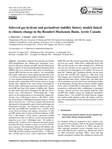 Inferred gas hydrate and permafrost stability history models linked to