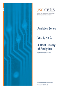 CETIS Analytics Series vol 1, No 9. A Brief History of Analytics