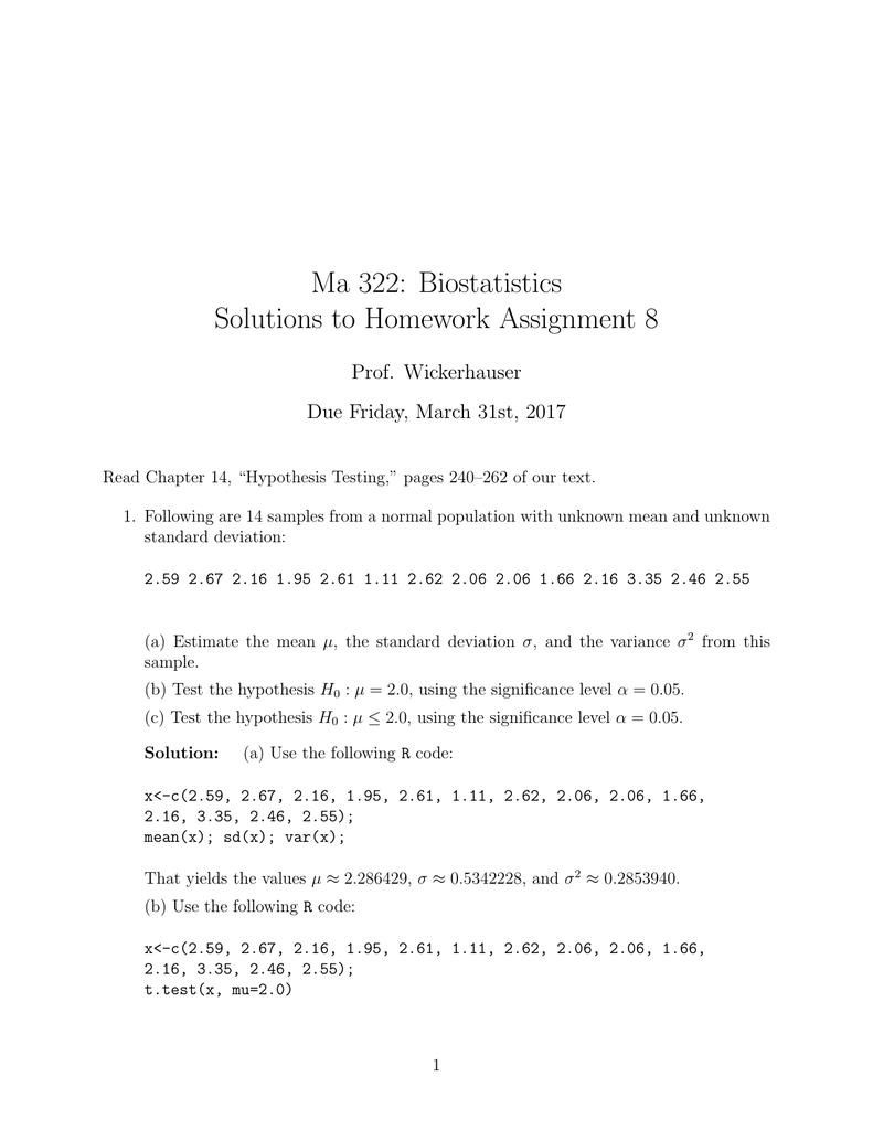 Ma 322: Biostatistics Solutions to Homework Assignment 8