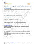 Worksheet : Magnetic effects of current class 10