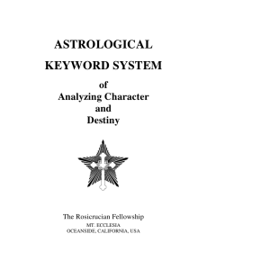 Astrological Keyword System - The Rosicrucian Fellowship