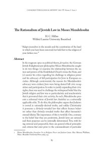 The Rationalism of Jewish Law in Moses Mendelssohn