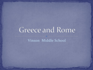 Greece and Rome - 6th Grade History: Vinson Middle