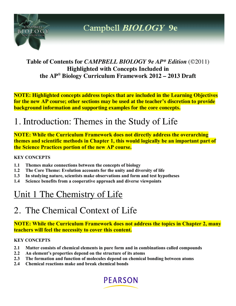 1  Introduction: Themes in the Study of Life Unit 1 The Chemistry of