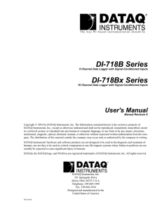 DI-718BX Data Logger/Data Acquisition System Hardware Manual