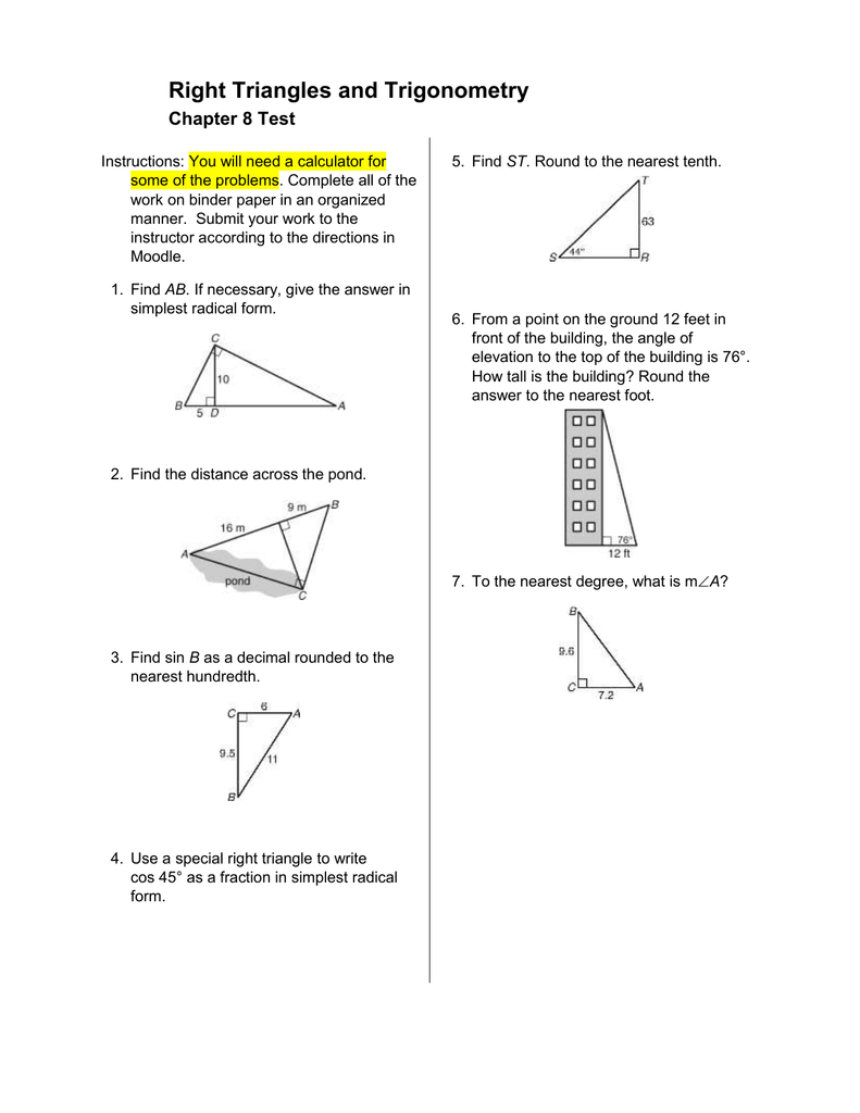 Right Triangles And Trigonometry Chapter 8 Test