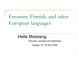 Finnish and Estonian - filologiaugrofinnica