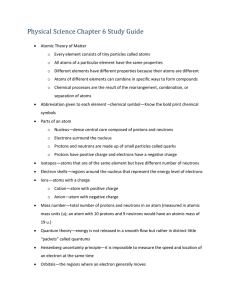 Physical Science Chapter 6 Study Guide Atomic Theory of Matter