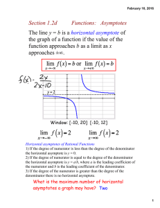The line y = b is a horizontal asymptote of the graph of a function if