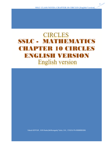 SSLC - MATHEMATICS CHAPTER 10 CIRCLES ENGLISH VERSION