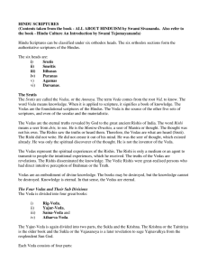 HINDU SCRIPTURES (Contents taken from the book