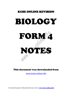 KCSE ONLINE REVISION BIOLOGY FORM 4 NOTES This