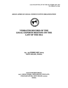 verbatim record of the legal experts meeting on the law of the sea