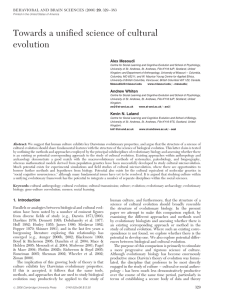 Towards a unified science of cultural evolution - synergy