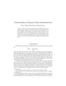 A Characterization of Entropy in Terms of Information Loss