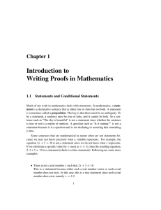 Introduction to Writing Proofs in Mathematics