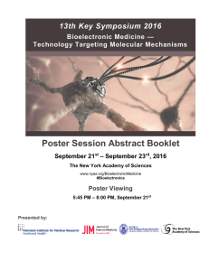 Poster Session Abstract Booklet - The New York Academy of Sciences