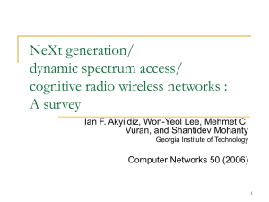 NeXt generation/dynamic spectrum access/cognitive radio wireless