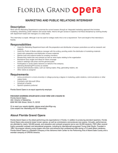 MARKETING AND PUBLIC RELATIONS INTERNSHIP Description